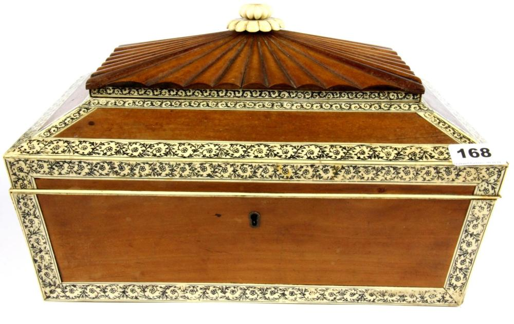 An early 19th century carved sandalwood and ivory decorated casket, size 36 x 27 x 23cm.