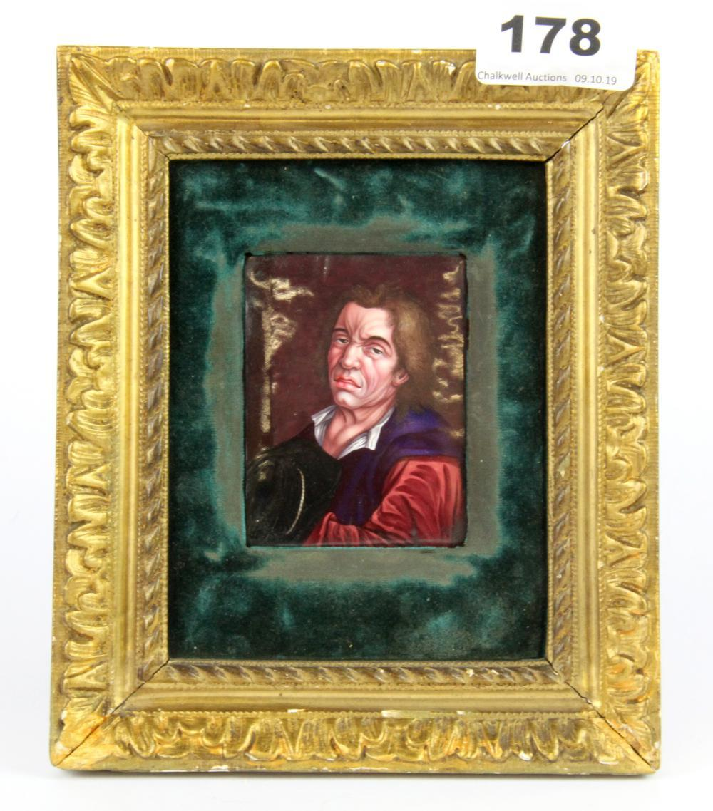 A gilt framed French hand enamelled portrait miniature, framed size 17 x 15cm.