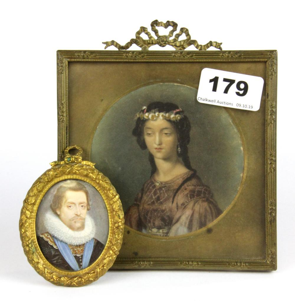 A framed hand painted portrait miniature of a young woman, framed size 13 x 15cm together with a further miniature frame containing a printe