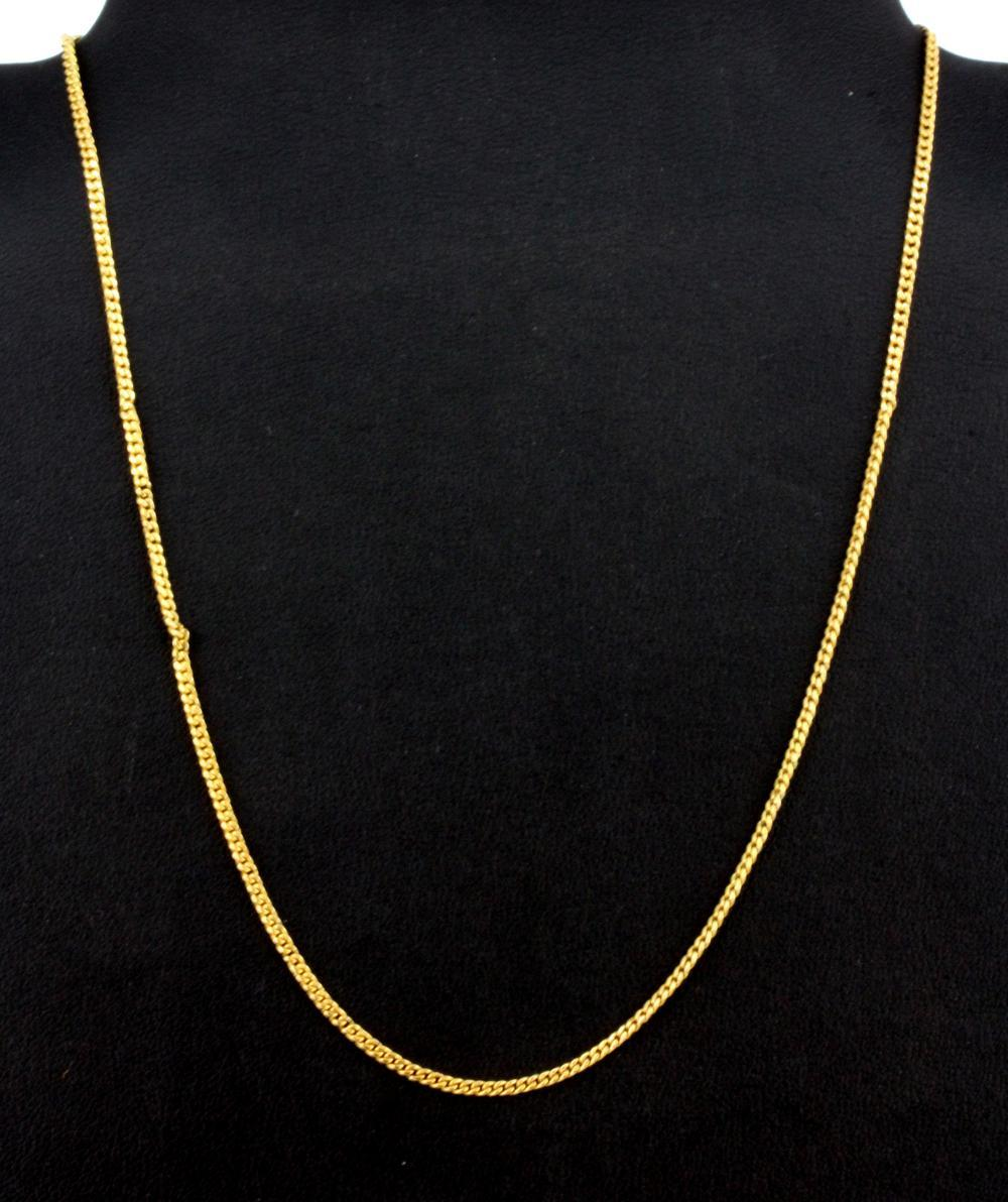 A yellow metal (tested 18ct gold) necklace chain, L. 40cm.