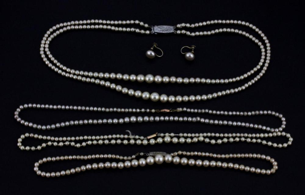 Four graduated pearl necklaces (two with 9ct gold clasps and 2 with silver clasps, and a pair of screw back fitted earrings.