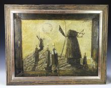"Janusz Hankowski (b.1933) Oil on Canvas Painting. ""Windwills"""