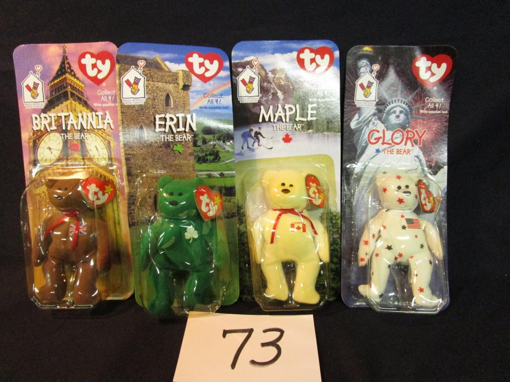 0877ea3c659 Lot of 4 McDonalds TY Beanie Baby Bears on Cards