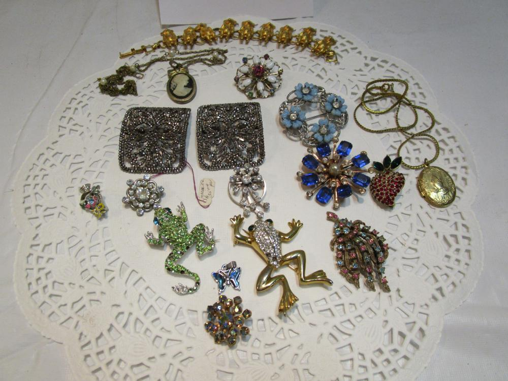 Lot of Costume Jewelry Brooches/Pins, Bracelet and Locket