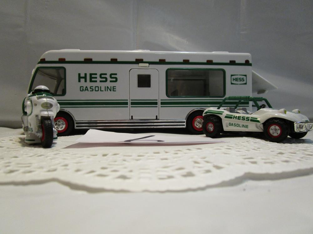 Hess Gasoline Car Hauler with Car and Motorcycle