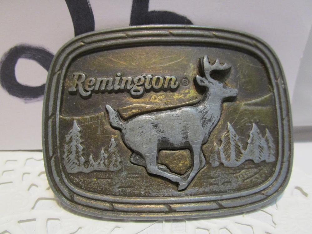 Remington 1979 Running White Tail Belt Buckle