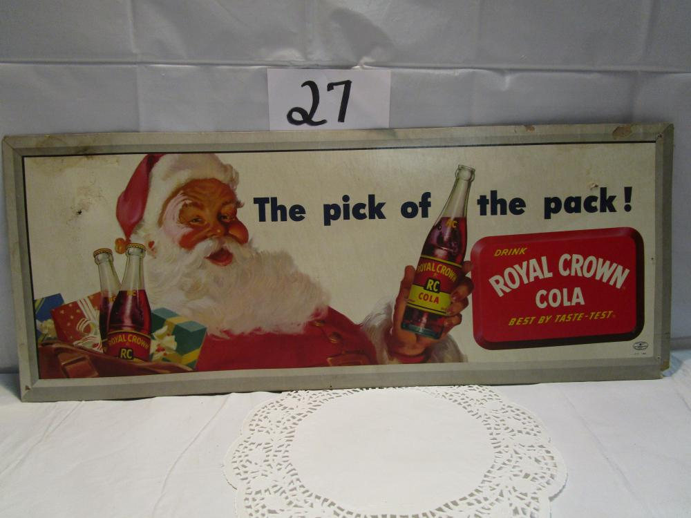 Vintage RC Royal Crown Cola Santa Poster Lithograph Sign