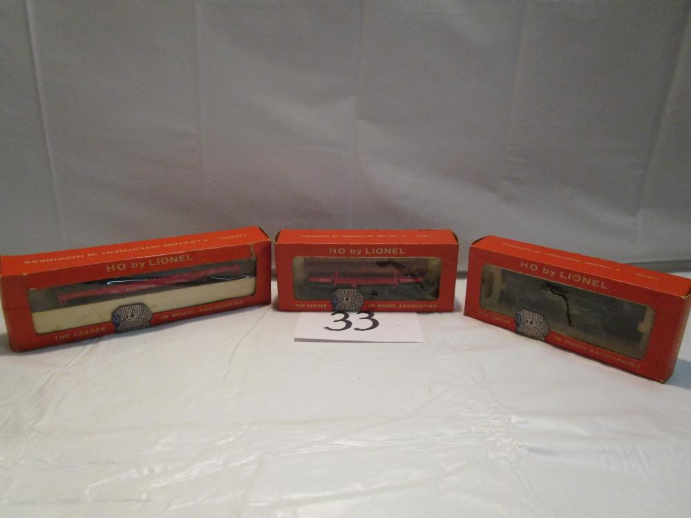 3 Vintage Lionel HO Scale Train Cars in Original Boxes