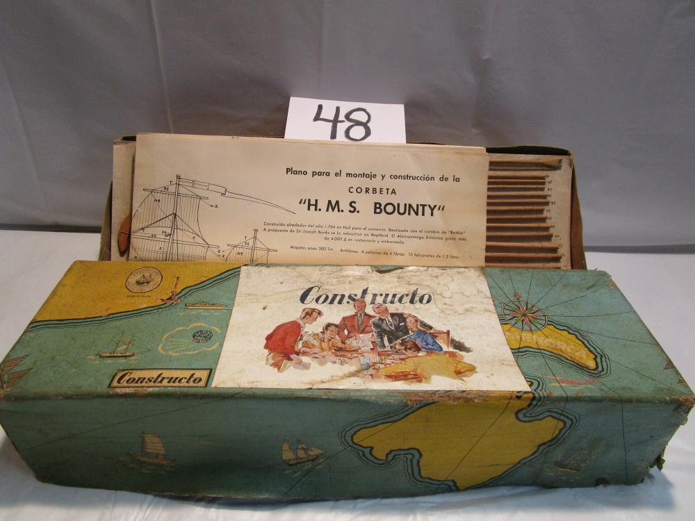 Constructo H.M.S. Bounty Wood Sailing Ship Model in Box