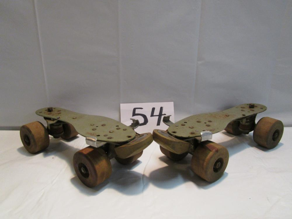 Vintage Chicago Roller Skate Co. Skates with Wooden Wheels
