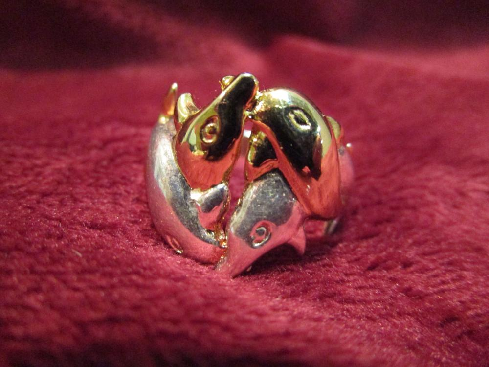 Sterling Silver Size 9 Ladies Dolphin Ring