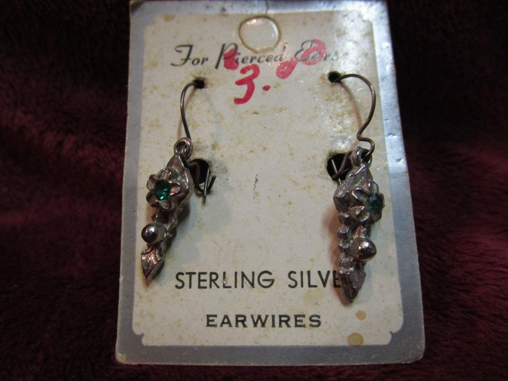 Sterling Silver Earwires Earrings for Pierced Ears on original Card