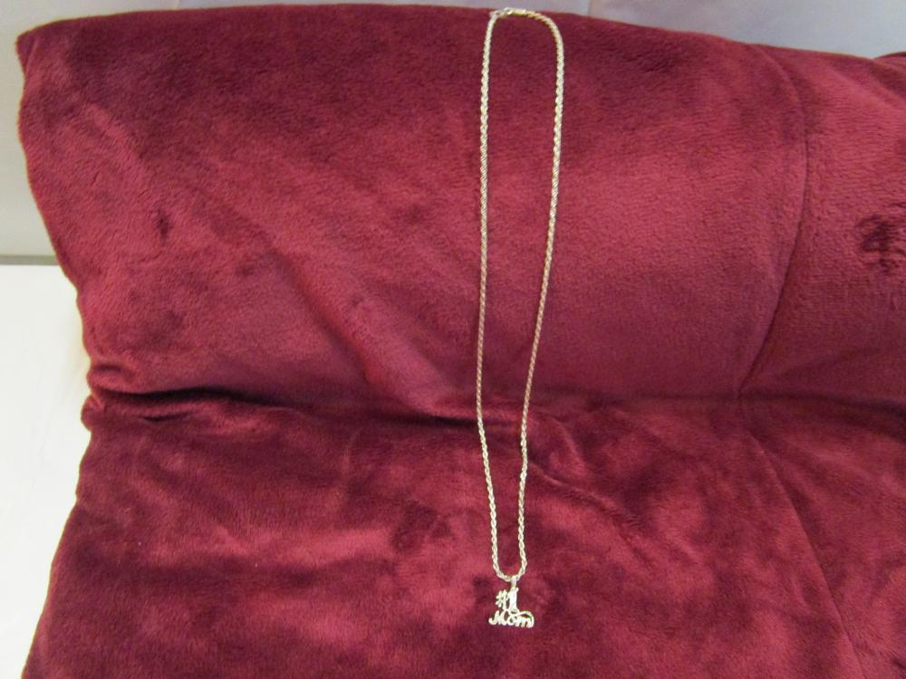 Sterling Silver Necklace with Sterling Silver #1 Mom Charm