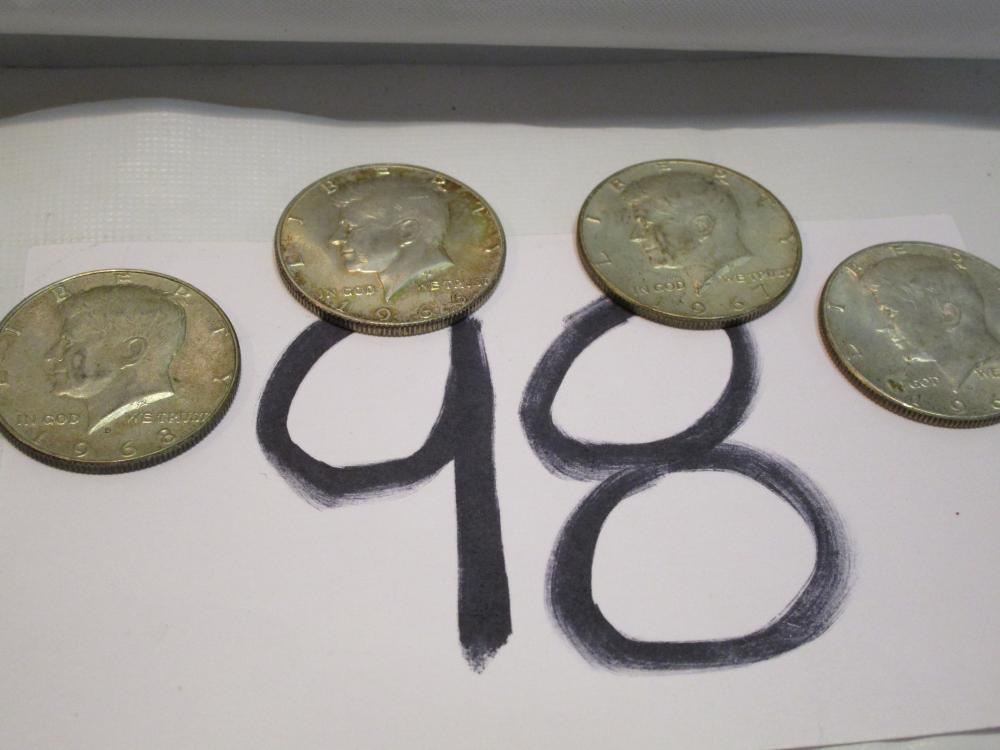 Lot of 4 Kennedy Fifty Cent Pieces Halves Dating 1966,67,68,69