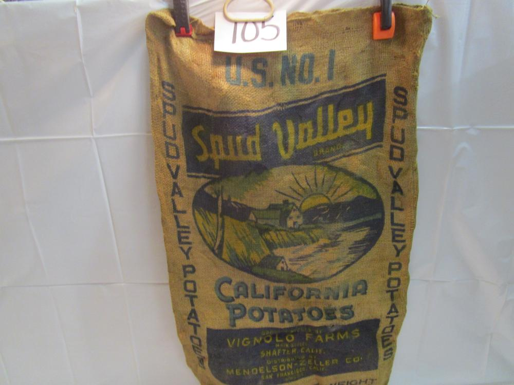 Spud Valley Brand Potatoes Burlap Sack