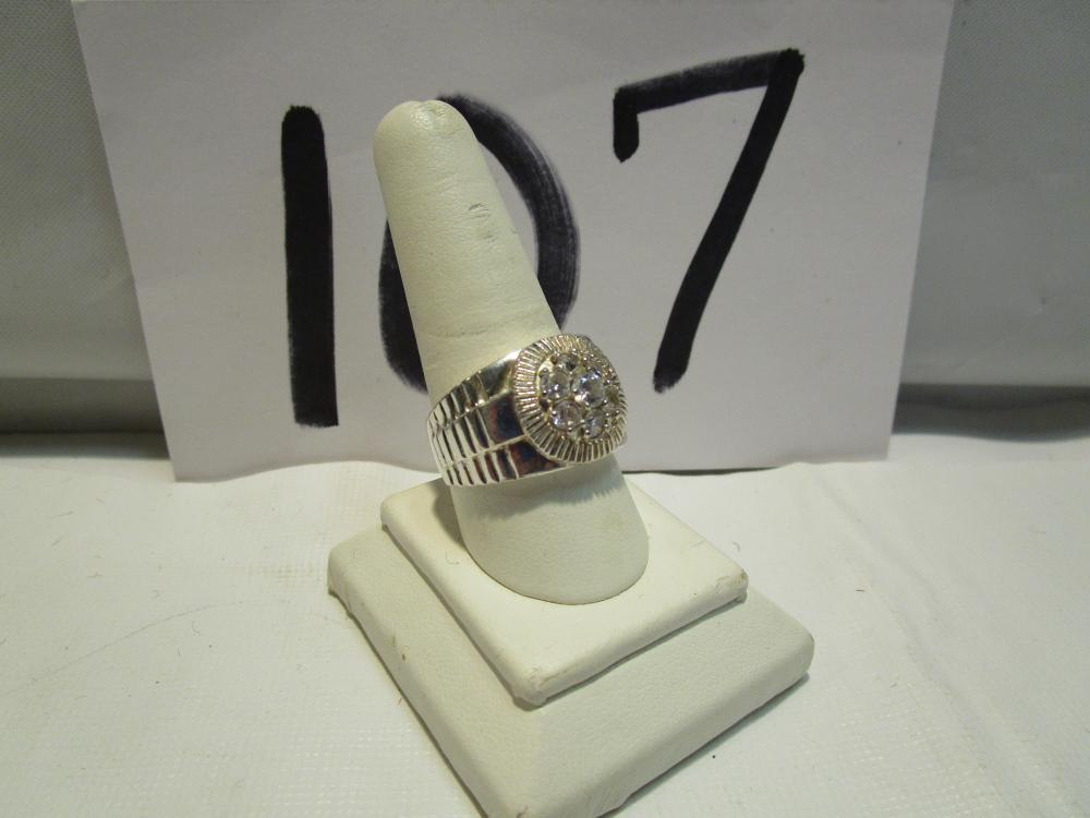 Men's Sterling Silver & Cubic Zirconia Ring
