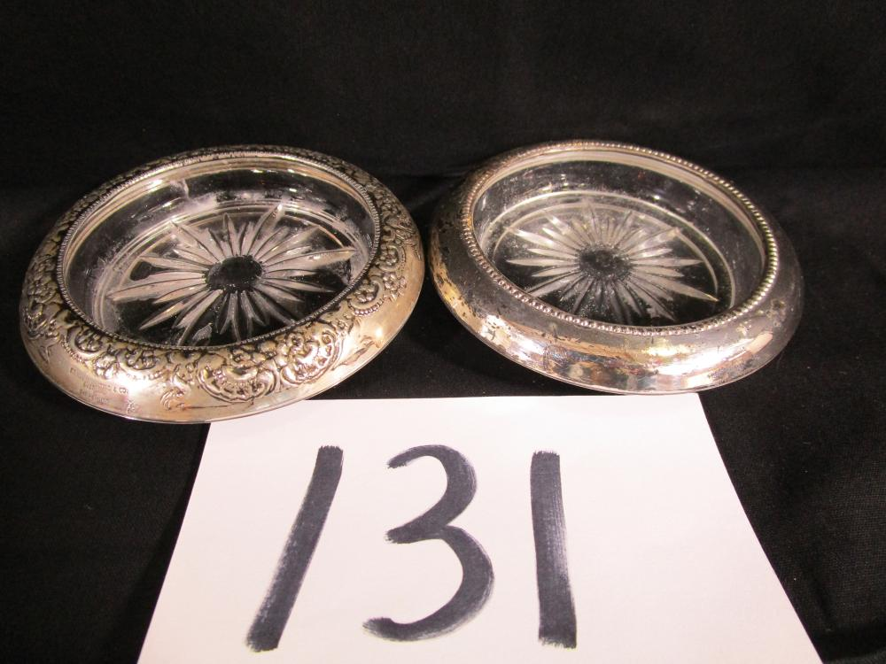 2 Frank Whiting & Co. Sterling Silver and Glass Coasters