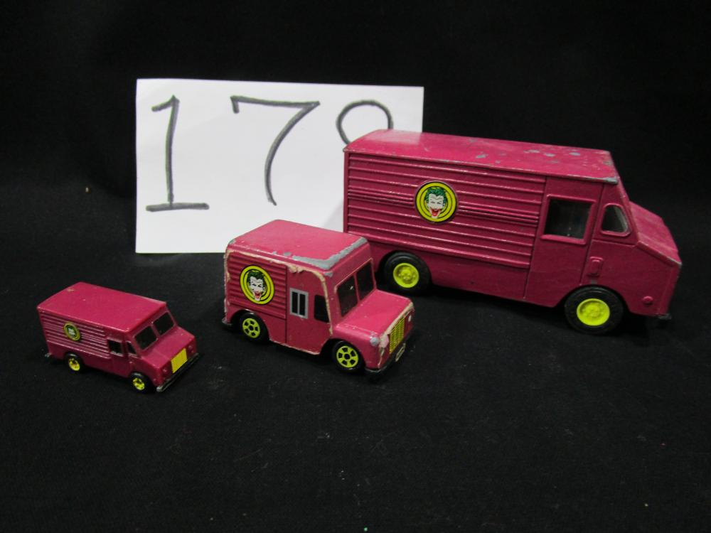 3 Different Sized 1989 Ertl Joker Vans
