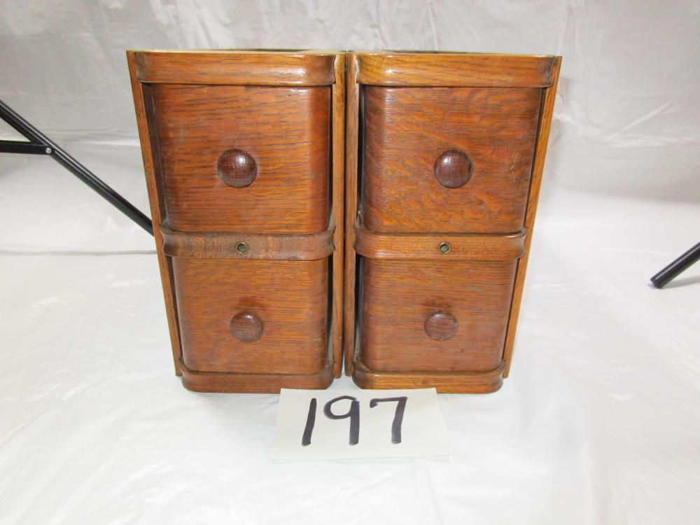 2 Pair of Oak Drawers From a Vintage Sewing Machine Cabinet