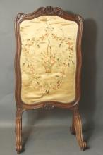 PETITE FRENCH SILK EMBROIDERED FIRE SCREEN
