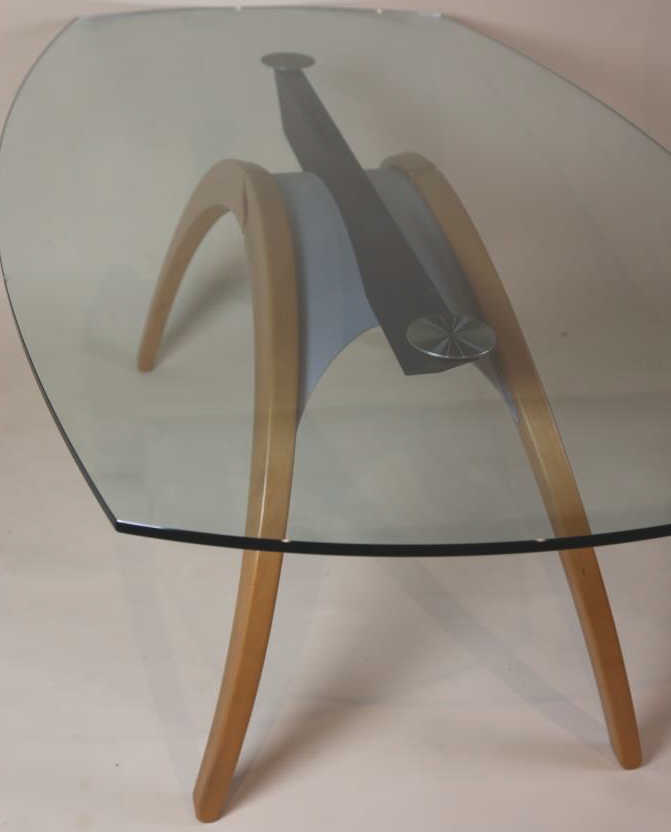 PORADA MID CENTURY MODERN GLASS DINING ROOM TABLE