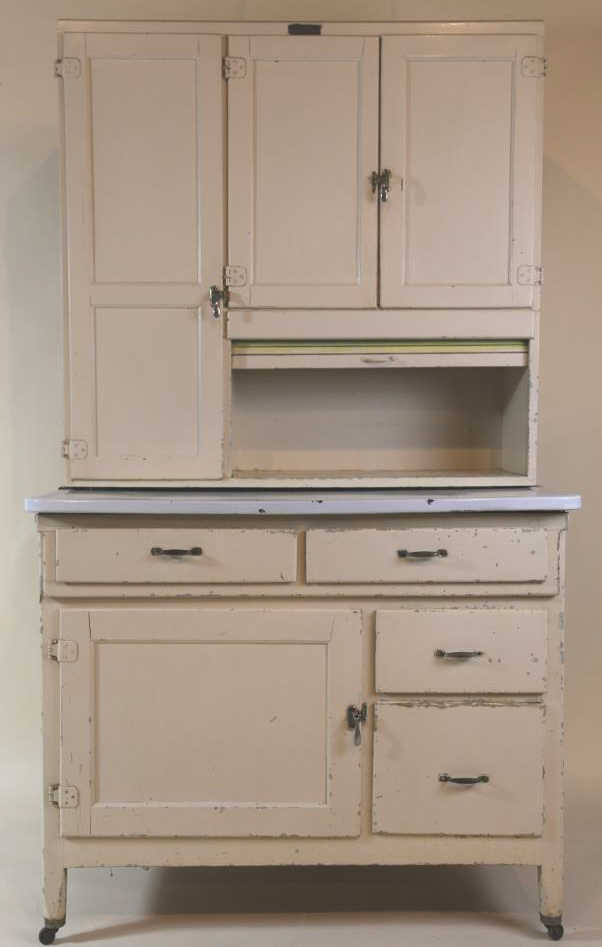 Antique painted marsh hoosier kitchen cabinet for Antiquing painted kitchen cabinets