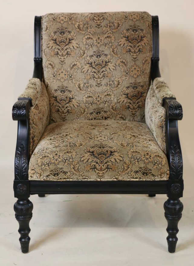 Ebonized contemporary carved oversized armchair for Oversized armchair