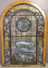 ANTIQUE PALATIAL STAINED GLASS WINDOW