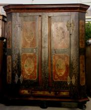 GERMAN 18THC. HAND PAINT DECORATED ARMOIRE