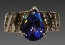 14KWG 2+ CT TANZANITE & DIAMOND RING