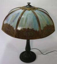 ANTIQUE SLAG GLASS SHADED LAMP