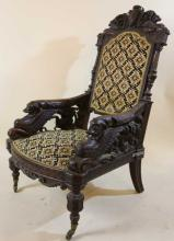 IMPORTANT VICTORIAN ANTIQUE CARVED ARM CHAIR