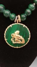 14KYG & MALACHITE PENDANT AND BEAD NECKLACE
