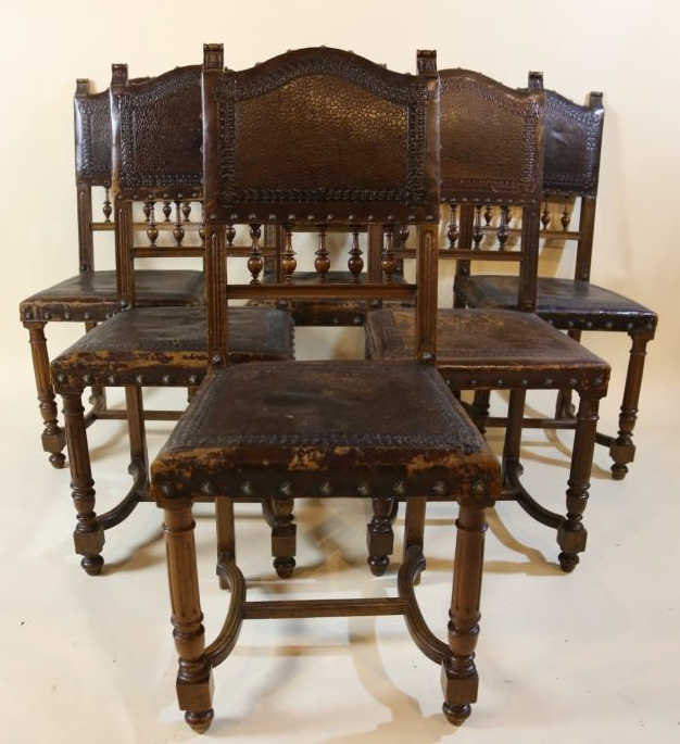 19th c jacobean nail trim leather chairs for Furniture 4 a lot less