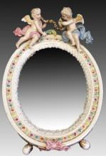 19TH C GERMAN DRESDEN PORCELAIN MIRROR