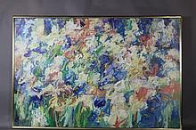 GENE HEGE GIANT FLORAL STILL LIFE ABSTRACT