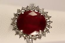 NATURAL 8 CT RUBY AND 1+CT DIAMOND  LADIES 14KWG  RING