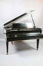 EBONIZED AND GILT DECORATED BABY GRAND PIANO/BENCH