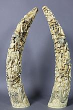 CHINESE ANTIQUE 19TH C.  IVORY CARVED TUSKS 29