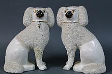 STAFFORDSHIRE OPEN PAW POODLE PAIR