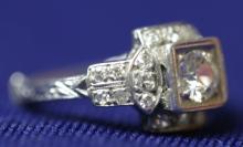 ART DECO PLATINUM & DIAMOND LADIES  RING
