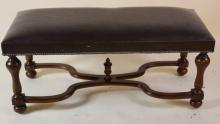 ENGLISH VERY FINE NAIL HEAD TRIMMED LEATHER BENCH