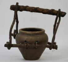 NATIVE AMERICAN POTTERY POT & CARRIER