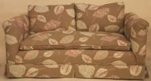 CUSTOM UPHOLSTERED DOWN CUSHIONED LOVE SEAT