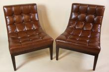 THAYER COGGIN  MODERN LEATHER TUFTED CHAIRS