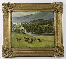 THOMAS COOPER GOTCH (1854-1931) OOB PASTORAL SCENE