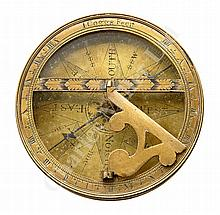 A BRASS POCKET SUNDIAL BY JOHN COGGS, LONDON, CIRCA 1720