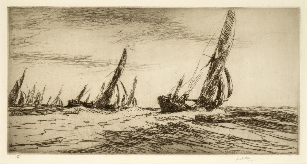 δ JAMES MCBEY (BRITISH, 1883-1959) : The Thames barge race, the start, 1935; The Thames barge race, the Sara winning, 1935; Burnham-on-Crouch,1921