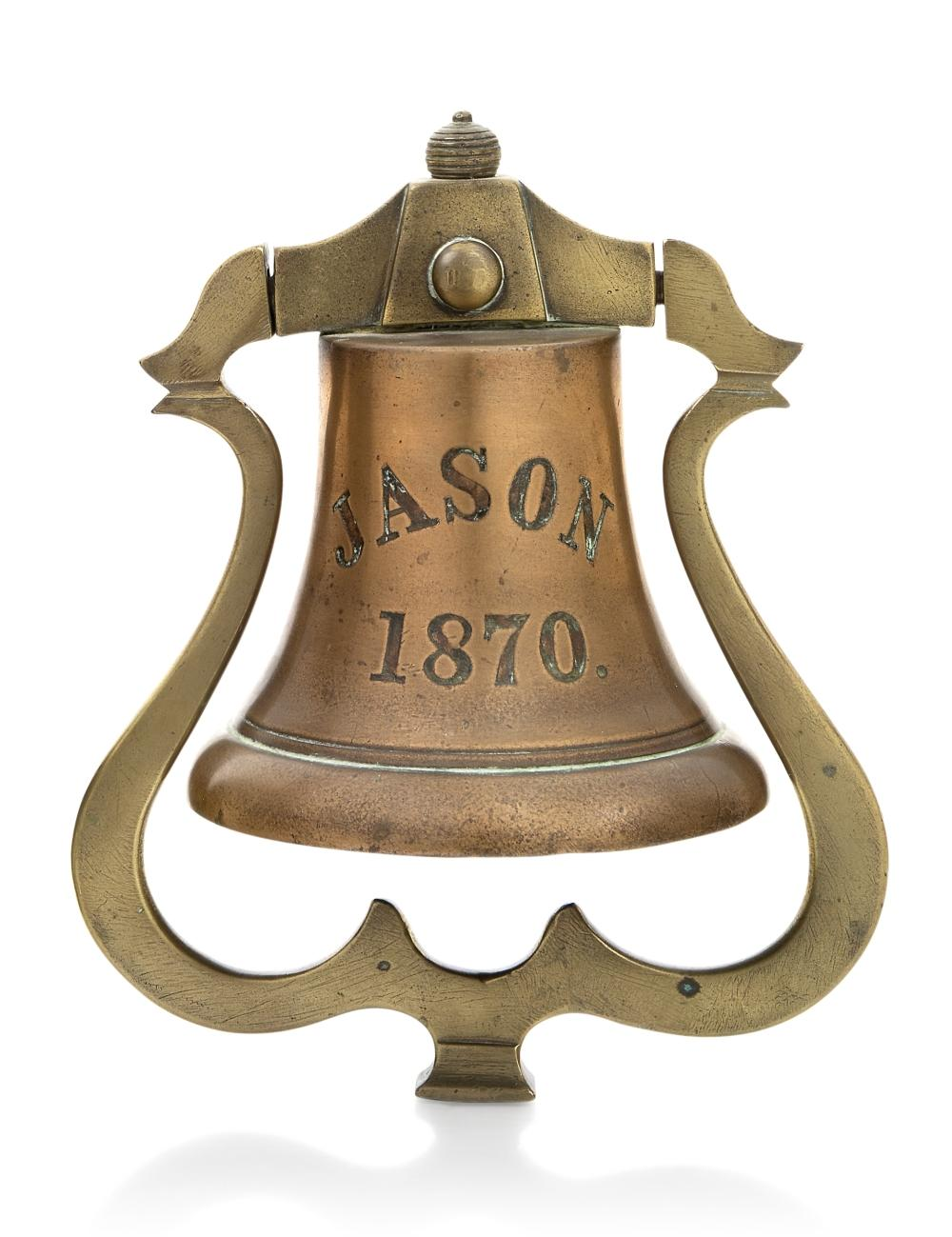 A SHIP'S BELL FROM THE CARGO SHIP JASON, 1870 and a whistle