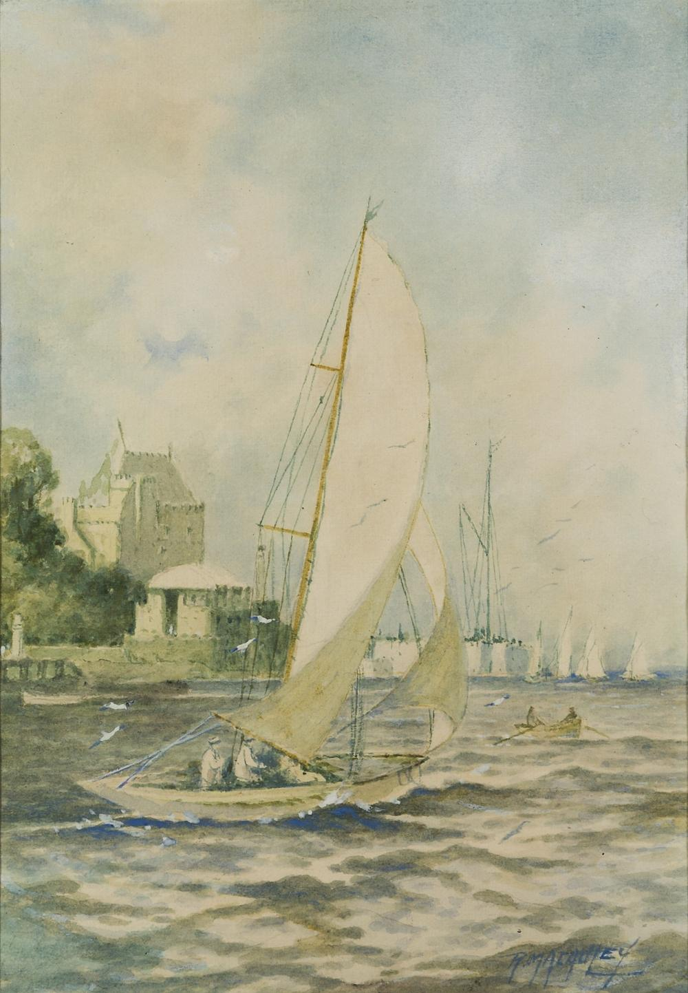 R. MACAULEY (BRITISH, 20TH CENTURY) : Yachts racing off Cowes Castle; Yachts racing off Ryde, Isle of Wight